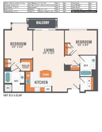 B1.1  2 Beds 2 Baths Floor Plan
