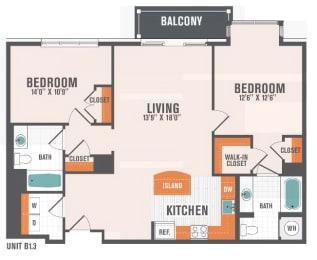 B1.3  2 Beds 2 Baths Floor Plan