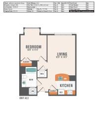 A2.2  1 Bed 1 Bath Floor Plan
