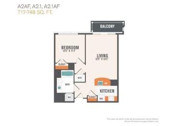 A2.1  1 Bed 1 Bath Floor Plan