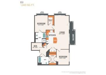 B8 Den  2 Beds 2 Baths Floor Plan