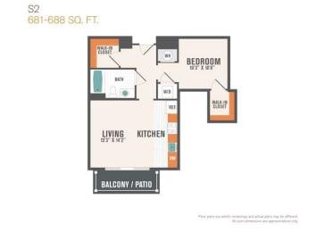 S2 0 Beds 1 Bath Floor Plan