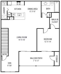 The Perdido Floor plan - 1 Bedroom 1 Bath + Den  1,077 Sq. Ft.