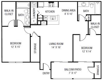 The Chipodia Floor plan - 2 Bedrooms 2 Baths 1,259 Sq. Ft.