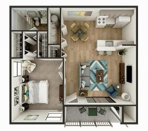 1 Bedroom 1 Bath Floor Plan - The Crescent
