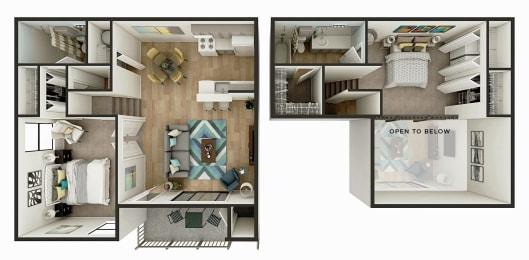 2 Bedroom 1 Bath Floor Plan Image - The Newport
