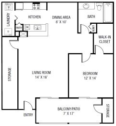 The Braden Floor Plan - 1 bedroom 1 bath 952 Sq. Ft.