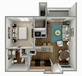 A1 - 1 Bedroom 1 Bath Floorplan Image