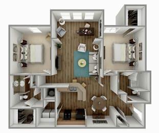 B2 - 2 Bedroom 2 Bath Floorplan Image