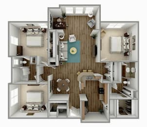 C2 - 3 Bedroom 2 Bath with Sunroom Floorplan Image
