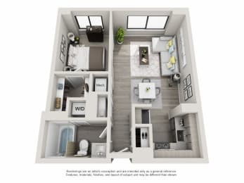 1 bedroom apartment layout