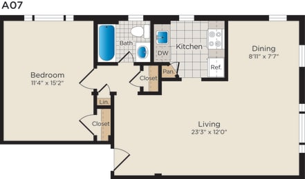 Floor Plan A07lm (Income Restricted)