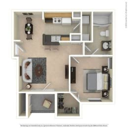 A1 One Bed One Bath 679 Sq ft Floorplan at Mariposa Villas, Dallas