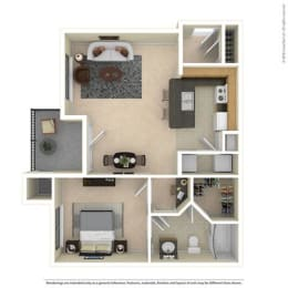 A2 756 Sq Ft One Bed One Bath Floorplan at Mariposa Villas, Dallas, 75211