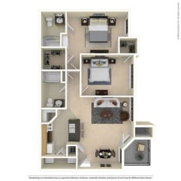 B1 Two Bed Two Bath 992 Sq ft Floorplan at Mariposa Villas, Dallas, TX, 75211