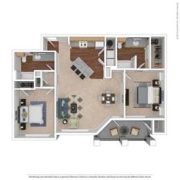 B1 Floor Plan at Huntington Ridge  Apartments,CLEAR Property Management, Texas, 75115