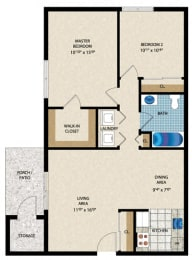 Floorplan 2x1 bedroom