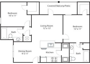 pines 2x2 955 sf floor plan