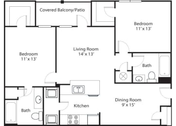 Pinnacle 2x2 1101 SF floor plan