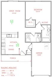 1 bedroom 1 bathroom Floor Plan at Hawthorne Properties, Lafayette, 47905
