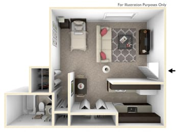 0-Bed/1-Bath, Torenia Floor Plan at Timberlane Apartments, Peoria, IL