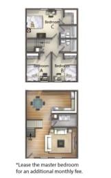 Floor Plan 3 bedroom 2 Bath - Master