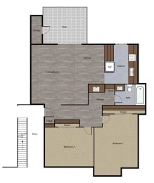 Two Bedroom Floorplan at St. Charles Oaks Apartments, Thousand Oaks, CA, 91360