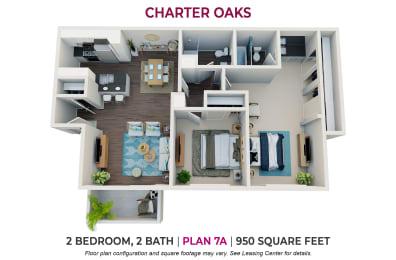 Floor Plan Two Bedroom Plan 7A