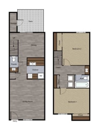 Two Bedroom Townhome Plan D Floorplan at St. Charles Oaks Apartments, Thousand Oaks, 91360