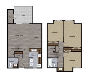Three Bedroom Townhome Plan F Floorplan at St. Charles Oaks Apartments, Thousand Oaks
