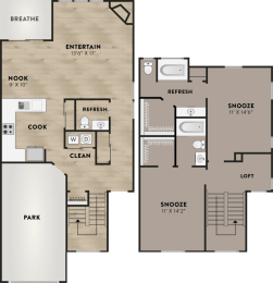 Floor Plan Two Bed Two & Half Bath