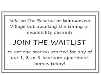 Floor Plan 1, 2 or 3 Bedroom Waitlist