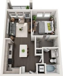 Rise at 2534 - A2 - 1 bedroom 1 bath - 3D