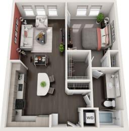 Rise at 2534 - A4 - 1 bedroom 1 bath - 3D