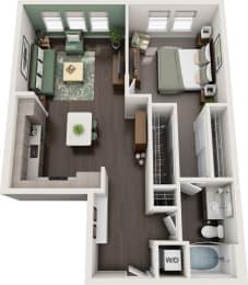 Rise at 2534 - A5 - 1 bedroom 1 bath - 3D