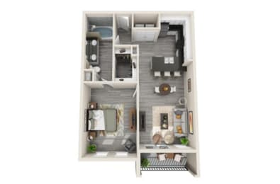 One-Bedroom Floor Plan at The Mansions McKinney, McKinney, 75070
