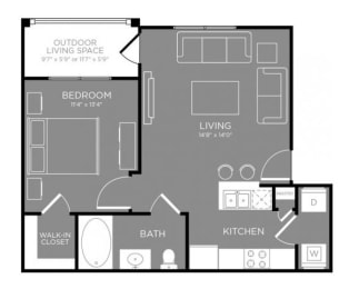 One Bed One Bath Floor Plan at Grand Estates in the Forest, Conroe, 77384