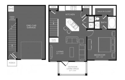 One Bed One Bath Floor Plan at Mansions Woodland, Texas