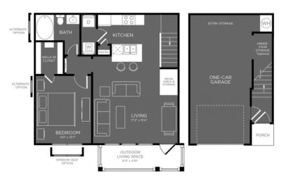 One Bed One Bath Floor Plan at Mansions Woodland, Texas, 77384