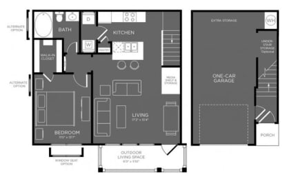 One Bed One Bath Floor Plan at Mansions Woodland, Conroe, TX, 77384