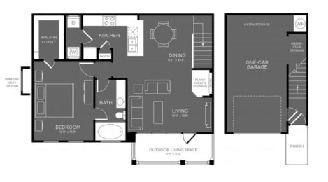 One Bed One Bath Floor Plan at Mansions Woodland, Conroe, Texas