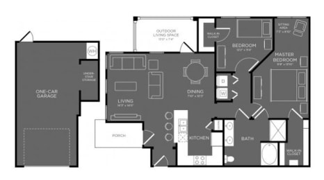 Two Bed One Bath Floor Plan at Mansions Woodland, Texas