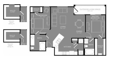 Two Bed Two Bath Floor Plan at Grand Estates in the Forest, Conroe