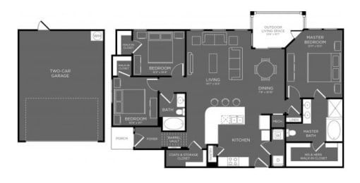 Three Bed Two Bath Floor Plan at Mansions Woodland, Conroe, 77384
