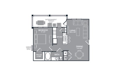 One Bed One Bath Floor Plan at Luxe Creekside, New Braunfels, TX, 78130