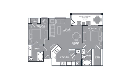 Two Bed Two Bath Floor Plan at Luxe Creekside, New Braunfels, 78130