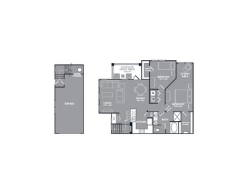 Two Bed One Bath Floor Plan at Mansions Lakeway, Texas