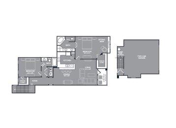 Two Bed Two Bath Floor Plan at Mansions Lakeway, Lakeway, TX, 78738