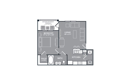 One-Bedroom Floor Plan at Mansions at Spring Creek, Garland, 75044