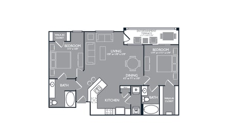 Two-Bedroom Floor Plan at Mansions at Spring Creek, Texas, 75044